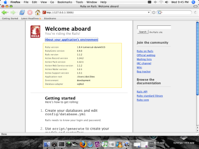 Ruby on Rails 1.1.2 running on OS X Leopard