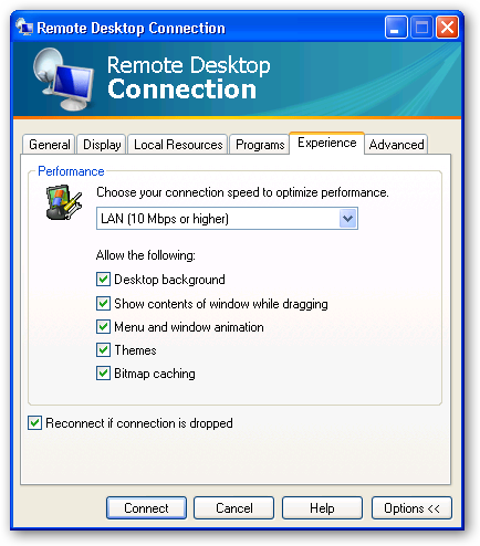 Remote Desktop Connection 6 - Experience Settings