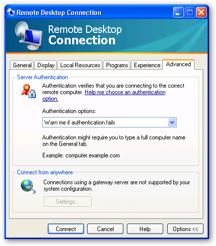 Remote Desktop Connection 6 Advanced Settings