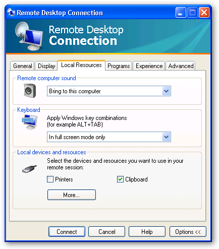 Remote Desktop Connection 6 Local Devices