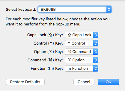 Settings required to set up option/alt and command/win keys for macOS.