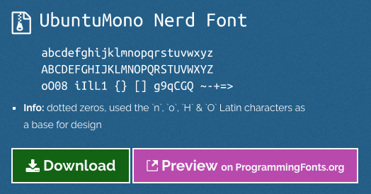 Ubuntu Mono From Nerd Fonts